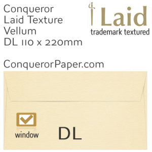 ENVELOPES - Laid.01123, WINDOW=Yes, TYPE=Wallet, TINT=Vellum, SIZE=DL-110x220mm, QUANTITY=500