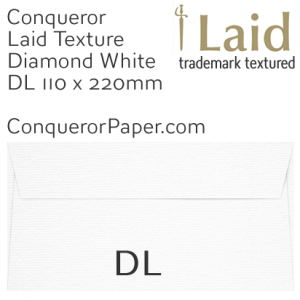 ENVELOPES - Laid.01250, Conqueror, WINDOW=No, TYPE=Wallet, TINT=DiamondWhite, DL-110x220mm, QUANTITY=500