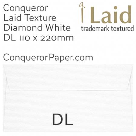 ENVELOPES - Laid.01250, Conqueror, WINDOW=No, TYPE=Wallet, TINT=DiamondWhite, DL-110x220mm, QUANTITY=500