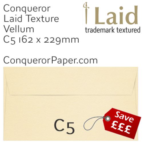 ENVELOPES - Laid.01264, TINT=Vellum, WINDOW=No, TYPE=Wallet, SIZE=C5-162x229mm, QUANTITY=250