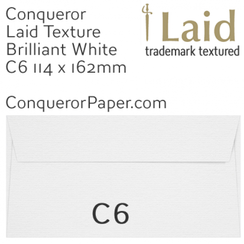 ENVELOPES - Laid.01501, WINDOW=No, TYPE=Wallet, TINT=BrilliantWhite, SIZE=C6-114x162mm, QUANTITY=500