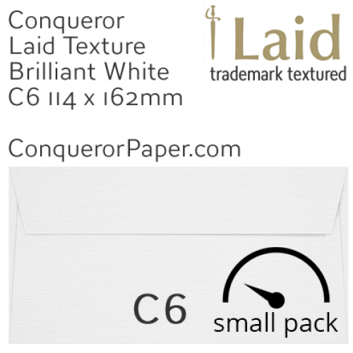 ENVELOPES - Laid.01501SP, WINDOW=No, TYPE=Wallet, TINT=BrilliantWhite, SIZE=C6-114x162mm, QUANTITY=50