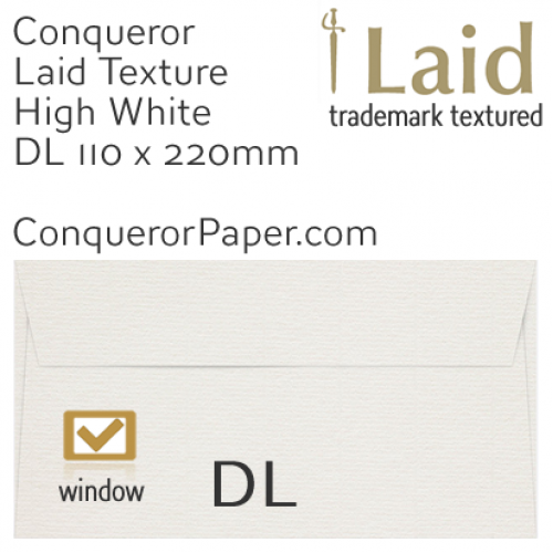 ENVELOPES - Laid.01525, WINDOW=Yes, TYPE=Wallet, TINT=HighWhite, SIZE=DL-110x220mm, QUANTITY=500