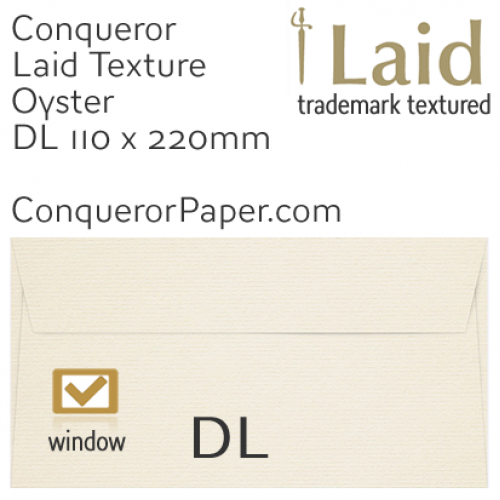 ENVELOPES - Laid.01526, WINDOW=Yes, TYPE=Wallet, TINT=Oyster, SIZE=DL-110x220mm, QUANTITY=500