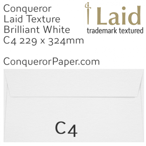 ENVELOPES - Laid.02615, TINT=BrilliantWhite, WINDOW=No, SIZE:C4-324x229mm,TYPE=Pocket, QUANTITY=250