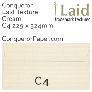 ENVELOPES - Laid.02617, TINT=Cream, WINDOW=No, TYPE=Pocket, SIZE=C4-229x324mm, QUANTITY=250