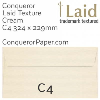 ENVELOPES - Laid.03027, TINT=Cream, WINDOW=No, TYPE=Wallet, SIZE=C4-324x229mm, QUANTITY=250