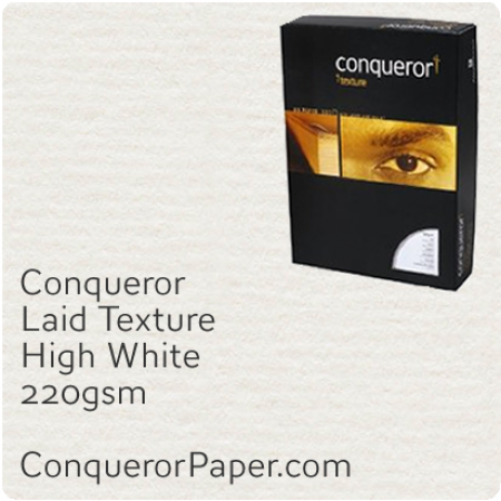 PAPER - laid.10306C, TINT:HighWhite, FINISH:Laid, PAPER:220gsm, SIZE:A4-210x297mm, QTY:100Sheets, WATERMARK:No
