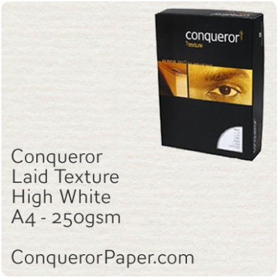 PAPER - Laid.10307C, TINT:HighWhite, FINISH:Laid, PAPER:250gsm, SIZE:A4-210x297mm, QTY:100Sheets, WATERMARK:No