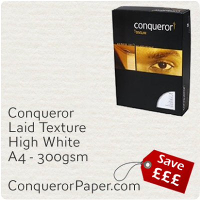 PAPER - Laid.10308C, TINT:HighWhite, FINISH:Laid, PAPER:300gsm, SIZE:A4-210x297mm, QTY:100Sheets, WATERMARK:No