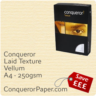 PAPER - Laid.10318C, TINT:Vellum, FINISH:Laid, PAPER:250gsm, SIZE:A4-210x297mm, QTY:100Sheets, WATERMARK:No