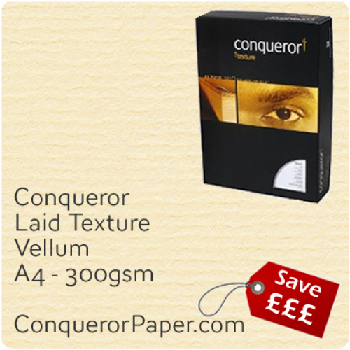 PAPER - Laid.10319C, TINT:Vellum, FINISH:Laid, PAPER:300gsm, SIZE:A4-210x297mm, QTY:100Sheets, WATERMARK:No