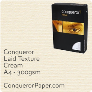 PAPER - Laid.19015C, TINT:Cream, FINISH:Laid, PAPER:300gsm, SIZE:A4-210x297mm, QTY:100Sheets, WATERMARK:No