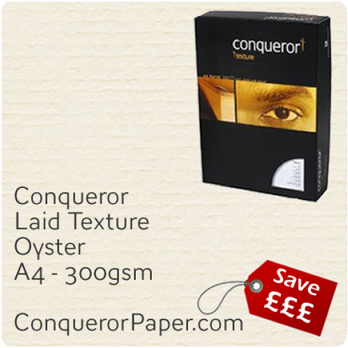 PAPER - Laid.19021C, TINT:Oyster, FINISH:Laid, PAPER:300gsm, SIZE:A4-210x297mm, QTY:100Sheets, WATERMARK:No