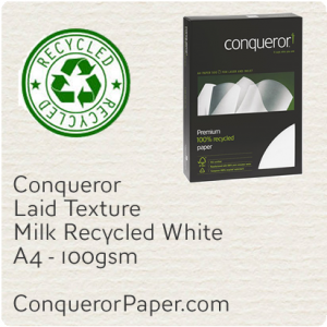 RECYCLED PAPER Laid.25718C, TINT:MilkWhite, FINISH:Laid, PAPER:100gsm, SIZE:A4, QUANTITY:500Sheets, WATERMARKED:Yes