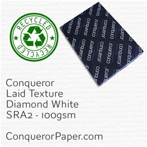 RECYCLED PAPER - Laid.41118, TINT:DiamondWhite, FINISH:Laid, PAPER:100gsm, SIZE:SRA2 - 450x640mm, QUANTITY:500Sheets, WATERMARK:Yes