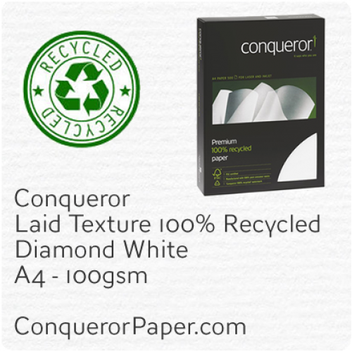 PAPER - Laid.41118C, TINT:DiamondWhite, FINISH:Laid, PAPER:100gsm, SIZE:A4-210x297mm, QTY:500Sheets, WATERMARK:Yes, 100%Recycled