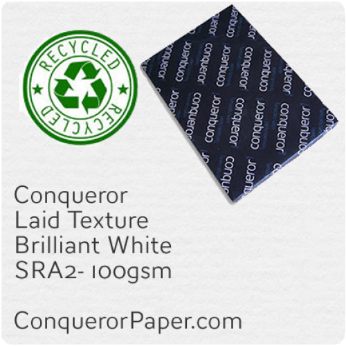 RECYCLED PAPER - Laid.41119, TINT:BrilliantWhite, FINISH:Laid, PAPER:100gsm, SIZE:SRA2 - 450x640mm, QUANTITY:500Sheets, WATERMARK:Yes