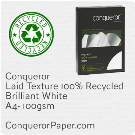 PAPER - Laid.41119C, TINT:BrilliantWhite, FINISH:Laid, PAPER:100gsm, SIZE:A4-210x297mm, QTY:500Sheets, WATERMARK:Yes, 100%Recycled