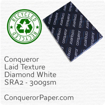 RECYCLED PAPER - Laid.41123, TINT:DiamondWhite, FINISH:Laid, PAPER:300gsm, SIZE:SRA2 - 450x640mm, QUANTITY:100Sheets, WATERMARK:No