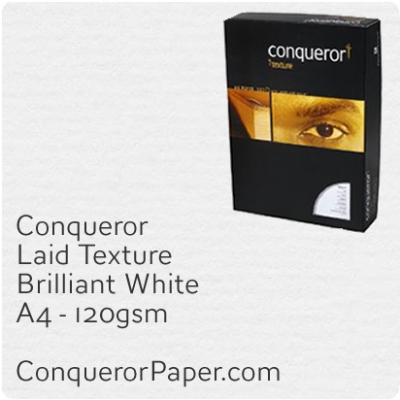 PAPER - Laid.42543C, TINT:BrilliantWhite, FINISH:Laid, PAPER:120gsm, SIZE:A4-210x297mm, QTY:500Sheets, WATERMARK:No