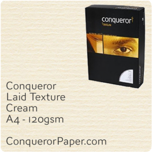 PAPER - Laid.42572C, TINT:Cream, FINISH:Laid, PAPER:120gsm, SIZE:A4-210x297mm, QTY:500Sheets, WATERMARK:No