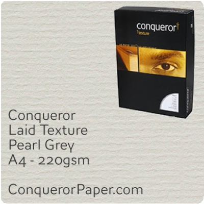 PAPER - Laid.64012C, TINT:Pearl Grey, FINISH:Laid, PAPER:220gsm, SIZE:A4-210x297mm, QTY:200Sheets, WATERMARKED:No