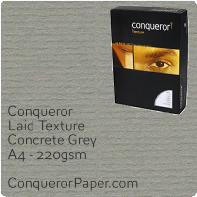 PAPER - Laid.64013C, TINT:Concrete Grey, FINISH:Laid, PAPER:220gsm, SIZE:A4-210x297mm, QTY:100Sheets, WATERMARKED:No