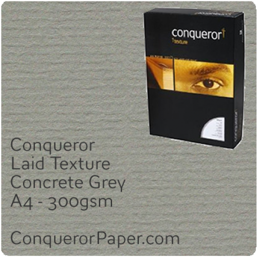 PAPER - Laid.64015C, TINT:Concrete Grey, FINISH:Laid, PAPER:300gsm, SIZE:A4-210x297mm, QTY:100Sheets, WATERMARKED:No