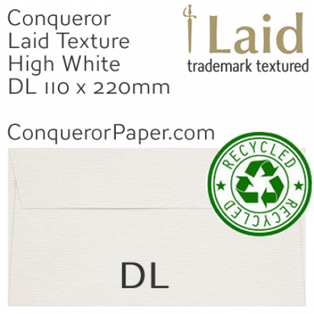ENVELOPES - Laid.82907, TINT=MilkWhite, WINDOW=No, TYPE=Wallet, SIZE=DL-110x220mm, QUANTITY=500, Recycled