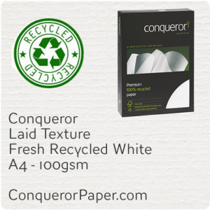 RECYCLED PAPER Laid.96807C, TINT:FreshWhite, FINISH:Laid, PAPER:100gsm, SIZE:A4, QUANTITY:500Sheets, WATERMARKED:Yes