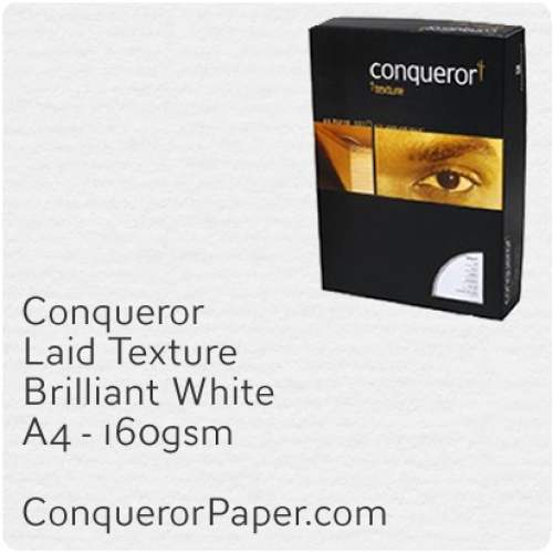 PAPER - Laid.97118C, TINT:BrilliantWhite, FINISH:Laid, PAPER:160gsm, SIZE:A4-210x297mm, QTY:150Sheets, WATERMARK:No