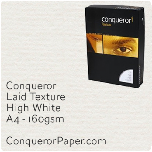PAPER - Laid.97120C, TINT:HighWhite, FINISH:Laid, PAPER:160gsm, SIZE:A4-210x297mm, QTY:150Sheets, WATERMARK:No