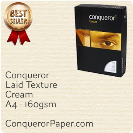 PAPER - Laid.97124C, TINT:Cream, FINISH:Laid, PAPER:160gsm, SIZE:A4-210x297mm, QTY:150Sheets, WATERMARK:No