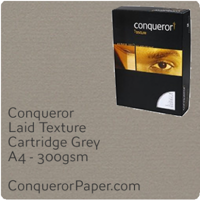 PAPER - Laid.42862C, TINT:Cartridge Grey, FINISH:Laid, PAPER:300gsm, SIZE:A4-210x297mm, QTY:100Sheets, WATERMARKED:No