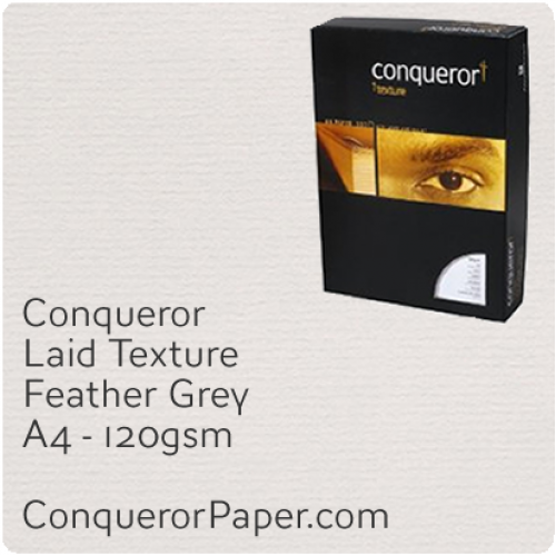 PAPER - Laid.42850C, TINT:Feather Grey, FINISH:Laid, PAPER:120gsm, SIZE:A4-210x297mm, QTY:250Sheets, WATERMARKED:No