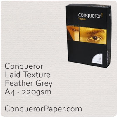 PAPER - Laid.42856 C, TINT:Feather Grey, FINISH:Laid, PAPER:220gsm, SIZE:A4-210x297mm, QTY:200Sheets, WATERMARKED:No