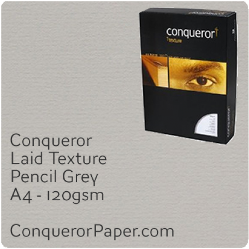 PAPER - Laid.42846C, TINT:Pencil Grey, FINISH:Laid, PAPER:120gsm, SIZE:A4-210x297mm, QTY:250Sheets, WATERMARKED:No