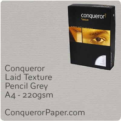 PAPER - Laid.42848 C, TINT:Pencil Grey, FINISH:Laid, PAPER:220gsm, SIZE:A4-210x297mm, QTY:200Sheets, WATERMARKED:No