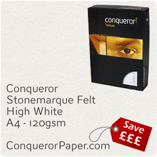 PAPER - Stonemarque.96887C, TINT:HighWhite, FINISH:Stonemaque, PAPER:120gsm, SIZE:A4-210x297mm, QUANTITY:250Sheets, WATERMARK:No