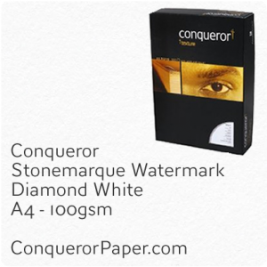PAPER - Stonemarque.96906C, TINT:DiamondWhite, FINISH:Stonemaque, PAPER:100gsm, SIZE:A4-210x297mm, QUANTITY:250Sheets, WATERMARK:Yes