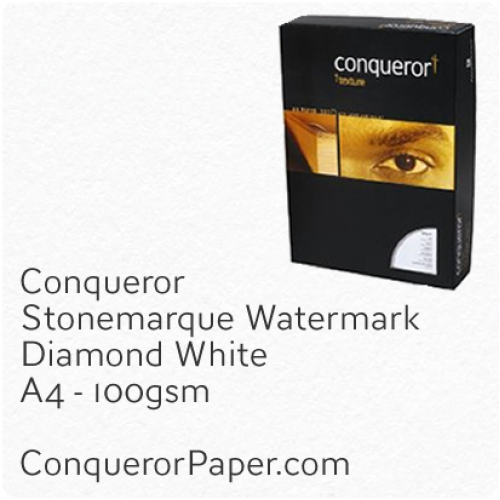 PAPER - Stonemarque.96906C, TINT:DiamondWhite, FINISH:Stonemaque, PAPER:100gsm, SIZE:A4-210x297mm, QUANTITY:2000Sheets, WATERMARK:Yes