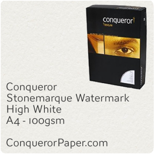 PAPER - Stonemarque.96908C, TINT:HighWhite, FINISH:Stonemaque, PAPER:100gsm, SIZE:A4-210x297mm, QUANTITY:250Sheets, WATERMARK:Yes