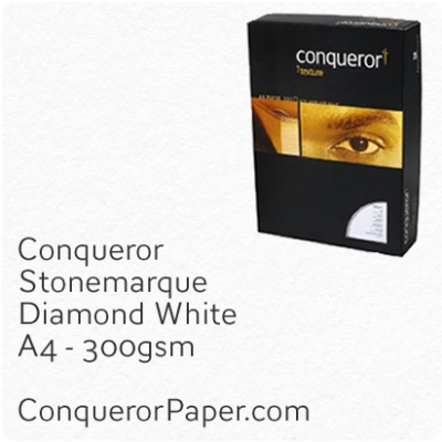 PAPER - Stonemarque.96912C, TINT:DiamondWhite, FINISH:Stonemaque, PAPER:300gsm, SIZE:A4-210x297mm, QUANTITY:100Sheets, WATERMARK:No