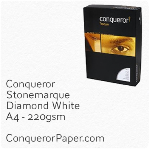 PAPER - Stonemarque.96924C, TINT:DiamondWhite, FINISH:Stonemaque, PAPER:220gsm, SIZE:A4-210x297mm, QUANTITY:800Sheets, WATERMARK:No