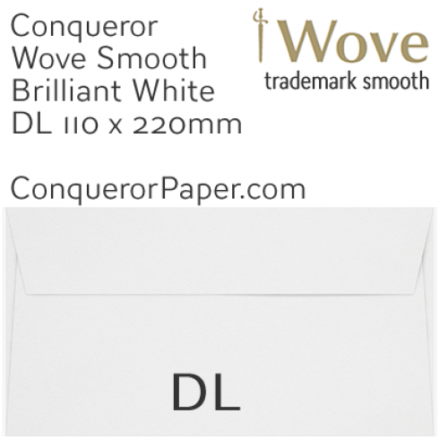 ENVELOPES - Wove.01007, TINT=BrilliantWhite, WINDOW=No, TYPE=Wallet, SIZE=DL-110x220mm, QUANTITY=500