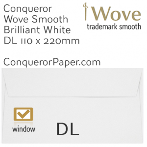 ENVELOPES - Wove.01036, TINT=BrilliantWhite, WINDOW=Yes, TYPE=Wallet, SIZE-DL-110x220mm, QUANTITY=500
