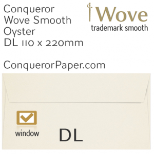 ENVELOPES - Wove.01059, TINT=Oyster, WINDOW=Yes, TYPE=Wallet, SIZE=DL-110x220mm, QUANTITY=500