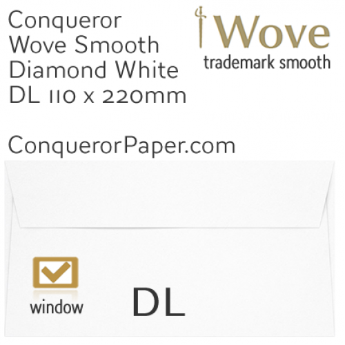 ENVELOPES - Wove.01529, TINT=DiamondWhite, WINDOW=Yes, TYPE=Wallet, SIZE=DL-110x220mm, QUANTITY=500