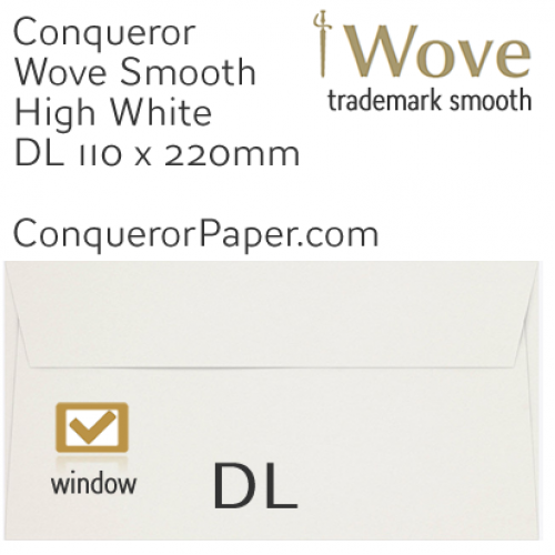 ENVELOPES - Wove.01530, TINT=HighWhite, WINDOW=Yes, TYPE=Wallet, SIZE=DL-110x220mm, QUANTITY=500